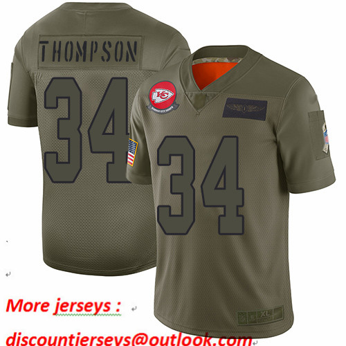 Chiefs #34 Darwin Thompson Camo Youth Stitched Football Limited 2019 Salute to Service Jersey