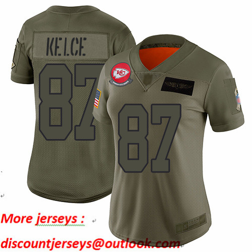 Chiefs #87 Travis Kelce Camo Women's Stitched Football Limited 2019 Salute to Service Jersey