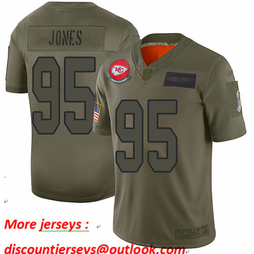 Chiefs #95 Chris Jones Camo Youth Stitched Football Limited 2019 Salute to Service Jersey