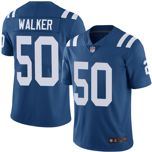 Colts #50 Anthony Walker Royal Blue Men's Stitched Football Limited Rush Jersey