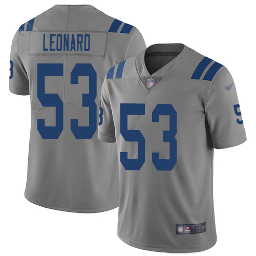 Colts #53 Darius Leonard Gray Men's Stitched Football Limited Inverted Legend Jersey