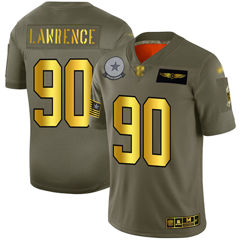 Cowboys #90 Demarcus Lawrence Camo Gold Men's Stitched Football Limited 2019 Salute To Service Jersey