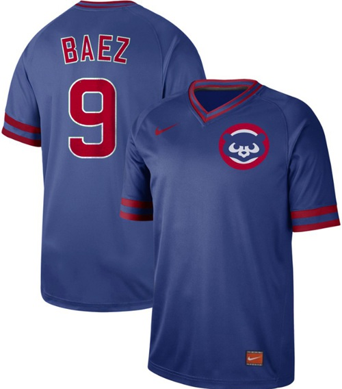 Cubs #9 Javier Baez Royal Authentic Cooperstown Collection Stitched Baseball Jersey