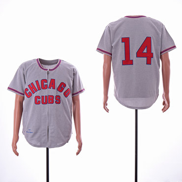Cubs 14 Ernie Banks Gray Throwback Jersey