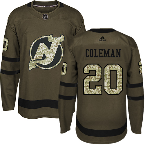 Devils #20 Blake Coleman Green Salute to Service Stitched Hockey Jersey
