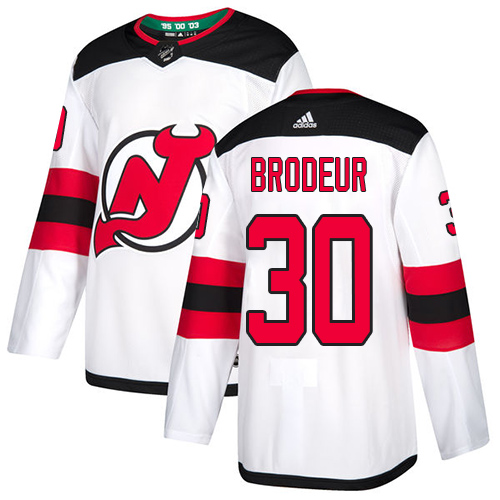 Devils #30 Martin Brodeur White Road Authentic Stitched Hockey Jersey