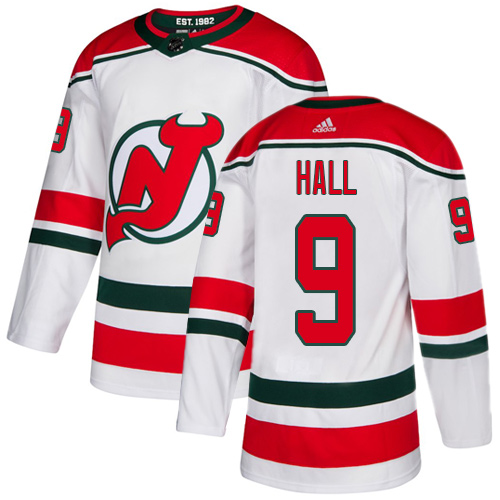 Devils #9 Taylor Hall White Alternate Authentic Stitched Hockey Jersey