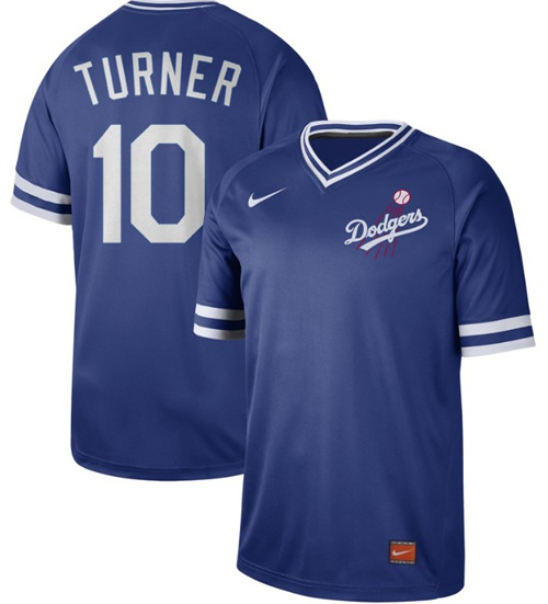 Dodgers #10 Justin Turner Royal Authentic Cooperstown Collection Stitched Baseball Jersey
