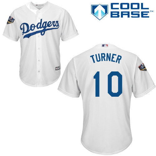 Dodgers #10 Justin Turner White Cool Base 2018 World Series Stitched Youth MLB Jersey