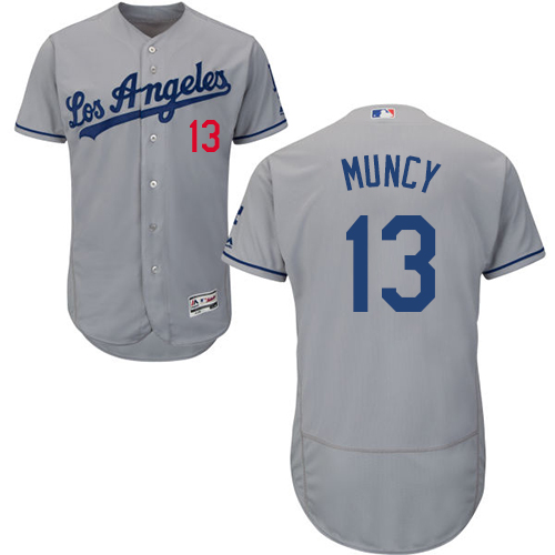 Dodgers #13 Max Muncy Grey Flexbase Authentic Collection Stitched Baseball Jersey