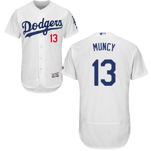 Dodgers #13 Max Muncy White Flexbase Authentic Collection Stitched Baseball Jersey