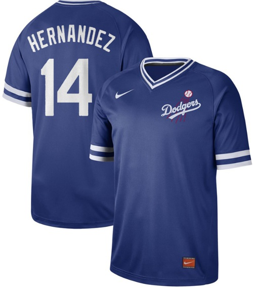 Dodgers #14 Enrique Hernandez Royal Authentic Cooperstown Collection Stitched Baseball Jersey