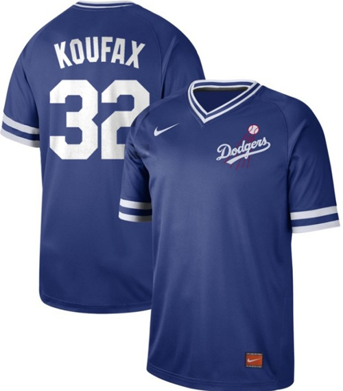 Dodgers #32 Sandy Koufax Royal Authentic Cooperstown Collection Stitched Baseball Jersey
