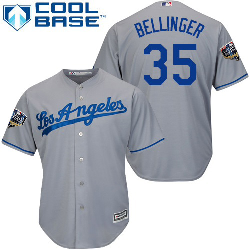 Dodgers #35 Cody Bellinger Grey Cool Base 2018 World Series Stitched Youth MLB Jersey