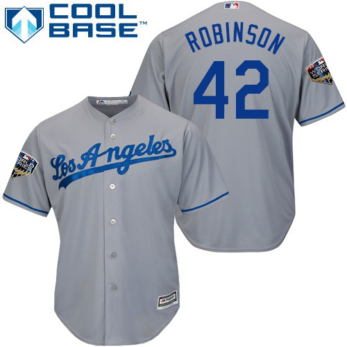 Dodgers #42 Jackie Robinson Grey Cool Base 2018 World Series Stitched Youth MLB Jersey