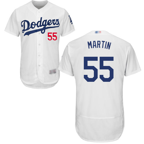 Dodgers #55 Russell Martin White Flexbase Authentic Collection Stitched Baseball Jersey