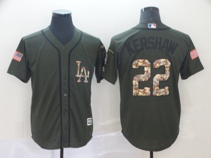Dodgers 22 Clayton Kershaw Olive Camo Salute To Service Cool Base Jersey