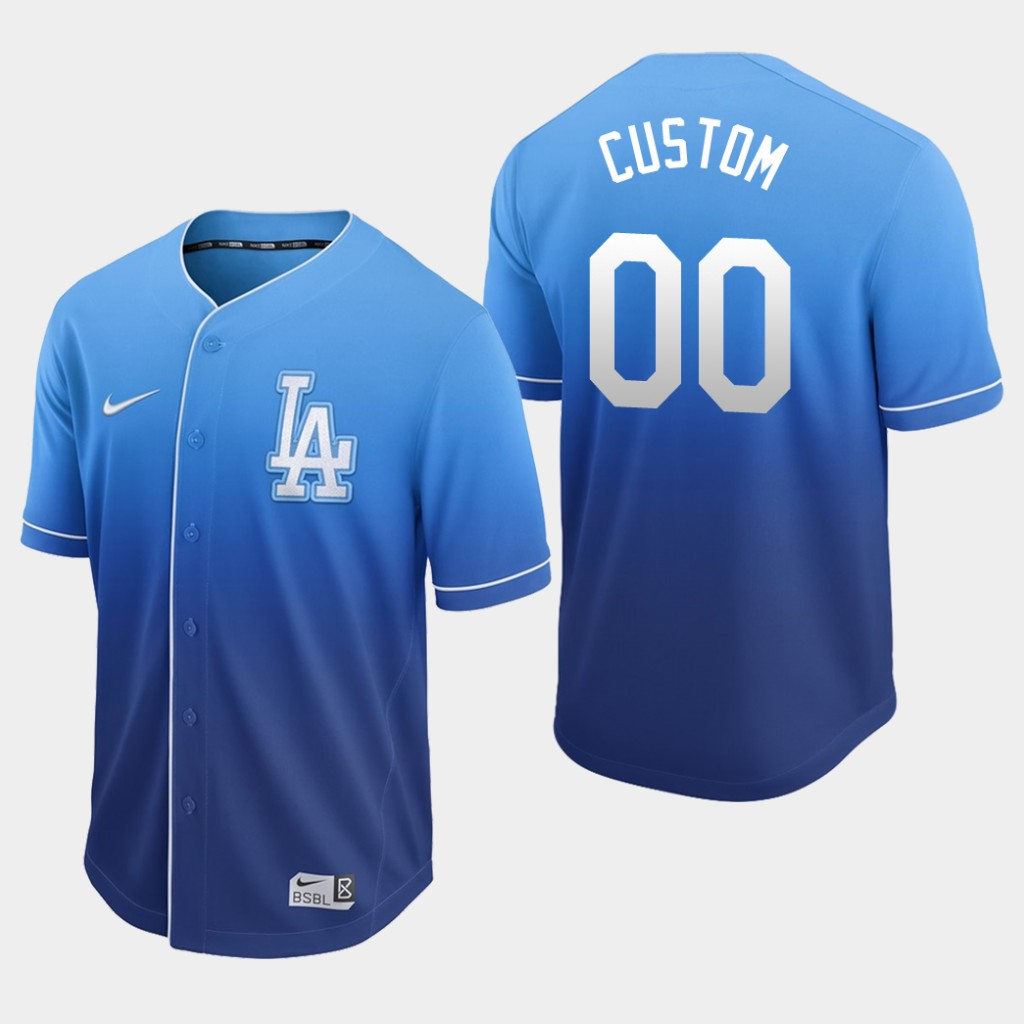Dodgers Royal Fade Custom Authentic Jersey