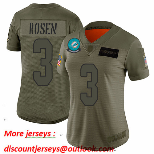 Dolphins #3 Josh Rosen Camo Women's Stitched Football Limited 2019 Salute to Service Jersey