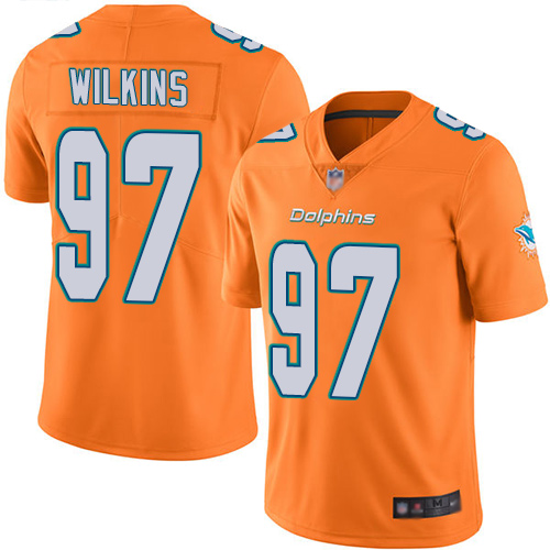 Dolphins #97 Christian Wilkins Orange Men's Stitched Football Limited Rush Jersey