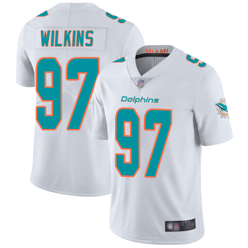 Dolphins #97 Christian Wilkins White Men's Stitched Football Vapor Untouchable Limited Jersey