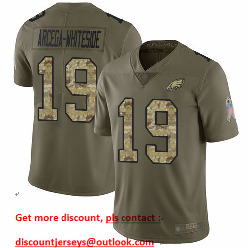Eagles #19 JJ Arcega-Whiteside Olive Camo Men's Stitched Football Limited 2017 Salute To Service Jersey