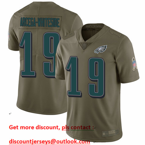Eagles #19 JJ Arcega-Whiteside Olive Men's Stitched Football Limited 2017 Salute To Service Jersey