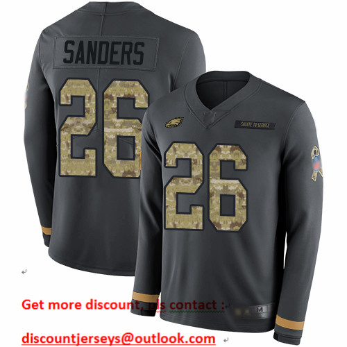 Eagles #26 Miles Sanders Anthracite Salute to Service Men's Stitched Football Limited Therma Long Sleeve Jersey