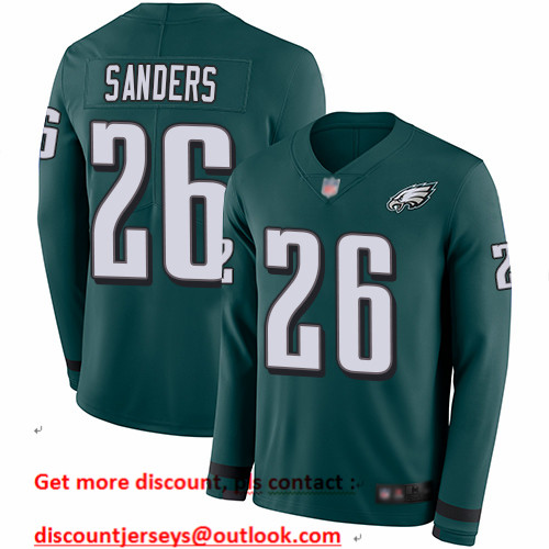 Eagles #26 Miles Sanders Midnight Green Team Color Men's Stitched Football Limited Therma Long Sleeve Jersey