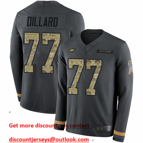 Eagles #77 Andre Dillard Anthracite Salute to Service Men's Stitched Football Limited Therma Long Sleeve Jersey