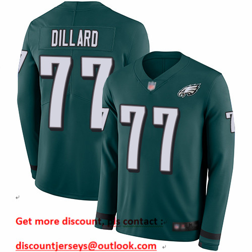 Eagles #77 Andre Dillard Midnight Green Team Color Men's Stitched Football Limited Therma Long Sleeve Jersey