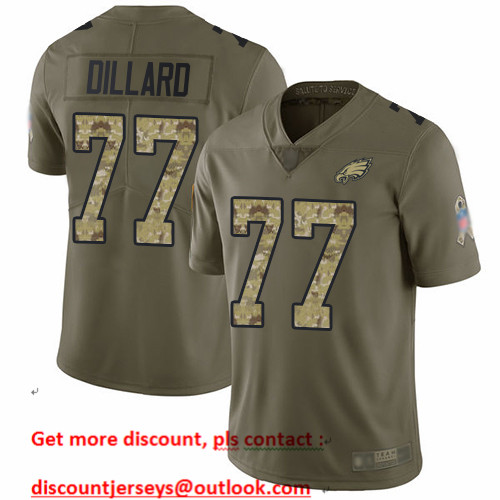 Eagles #77 Andre Dillard Olive Camo Men's Stitched Football Limited 2017 Salute To Service Jersey