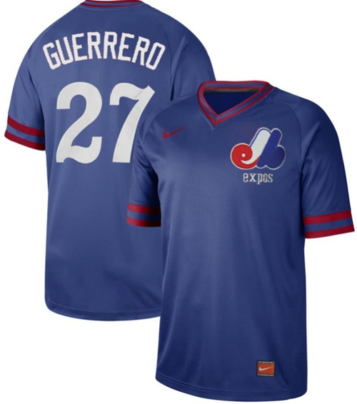 Expos #27 Vladimir Guerrero Royal Authentic Cooperstown Collection Stitched Baseball Jersey