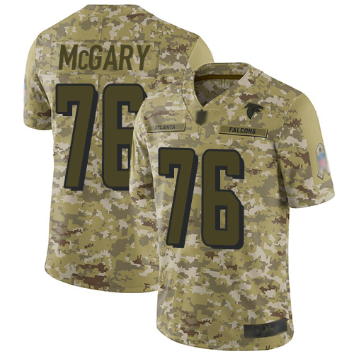 Falcons #76 Kaleb McGary Camo Men's Stitched Football Limited 2018 Salute To Service Jersey