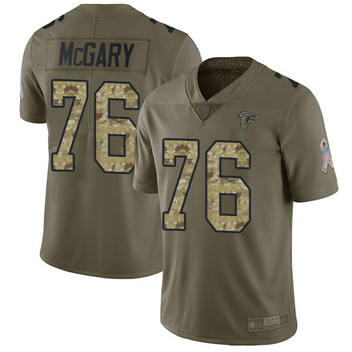 Falcons #76 Kaleb McGary Olive Camo Men's Stitched Football Limited 2017 Salute To Service Jersey