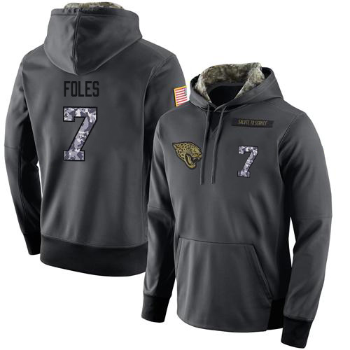 Football Men's Jacksonville Jaguars #7 Nick Foles Stitched Black Anthracite Salute to Service Player Performance Hoodie