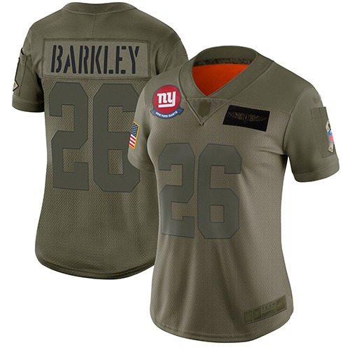 Giants #26 Saquon Barkley Camo Women's Stitched Football Limited 2019 Salute to Service Jersey