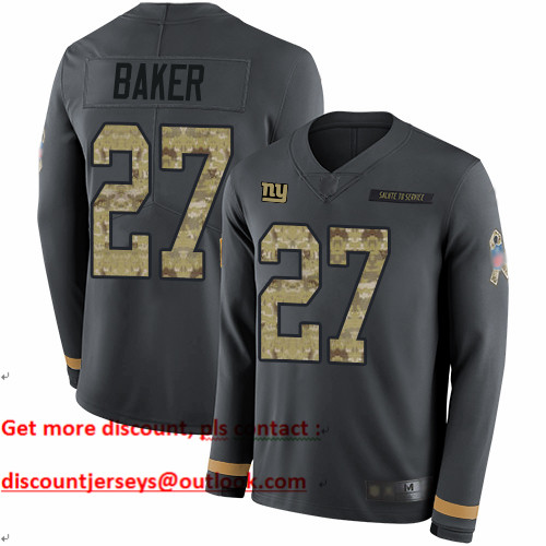 Giants #27 Deandre Baker Anthracite Salute to Service Youth Stitched Football Limited Therma Long Sleeve Jersey
