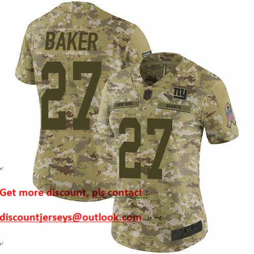 Giants #27 Deandre Baker Camo Women's Stitched Football Limited 2018 Salute to Service Jersey