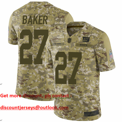 Giants #27 Deandre Baker Camo Youth Stitched Football Limited 2018 Salute to Service Jersey