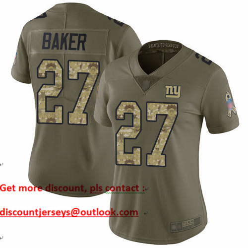 Giants #27 Deandre Baker Olive Camo Women's Stitched Football Limited 2017 Salute to Service Jersey