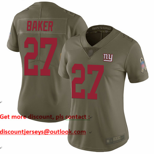 Giants #27 Deandre Baker Olive Women's Stitched Football Limited 2017 Salute to Service Jersey