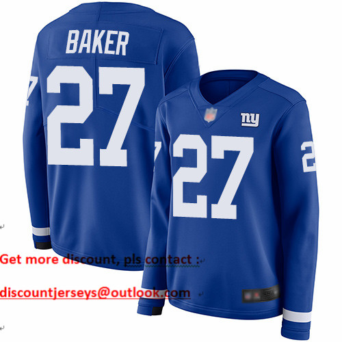 Giants #27 Deandre Baker Royal Blue Team Color Women's Stitched Football Limited Therma Long Sleeve Jersey