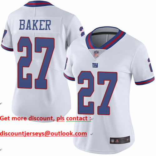 Giants #27 Deandre Baker White Women's Stitched Football Limited Rush Jersey