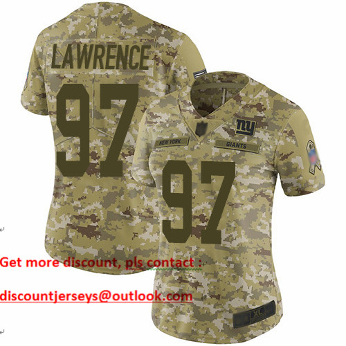 Giants #97 Dexter Lawrence Camo Women's Stitched Football Limited 2018 Salute to Service Jersey