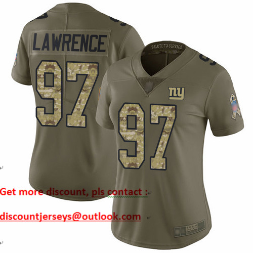 Giants #97 Dexter Lawrence Olive Camo Women's Stitched Football Limited 2017 Salute to Service Jersey
