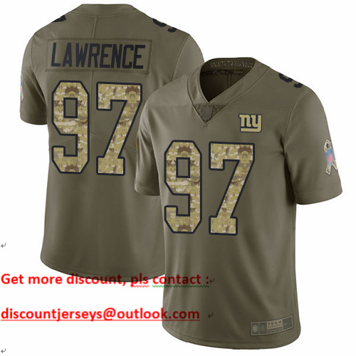 Giants #97 Dexter Lawrence Olive Camo Youth Stitched Football Limited 2017 Salute to Service Jersey