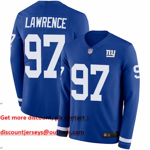 Giants #97 Dexter Lawrence Royal Blue Team Color Youth Stitched Football Limited Therma Long Sleeve Jersey