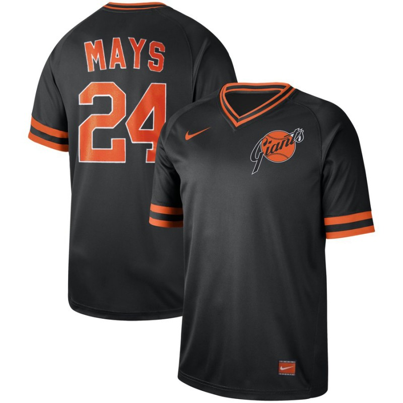 Giants 24 Willie Mays Black Throwback Jersey
