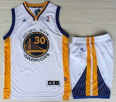 faa0c39c5 Golden State Warriors 30 Stephen Curry White Revolution 30 Swingman Jerseys  Shorts NBA Suits